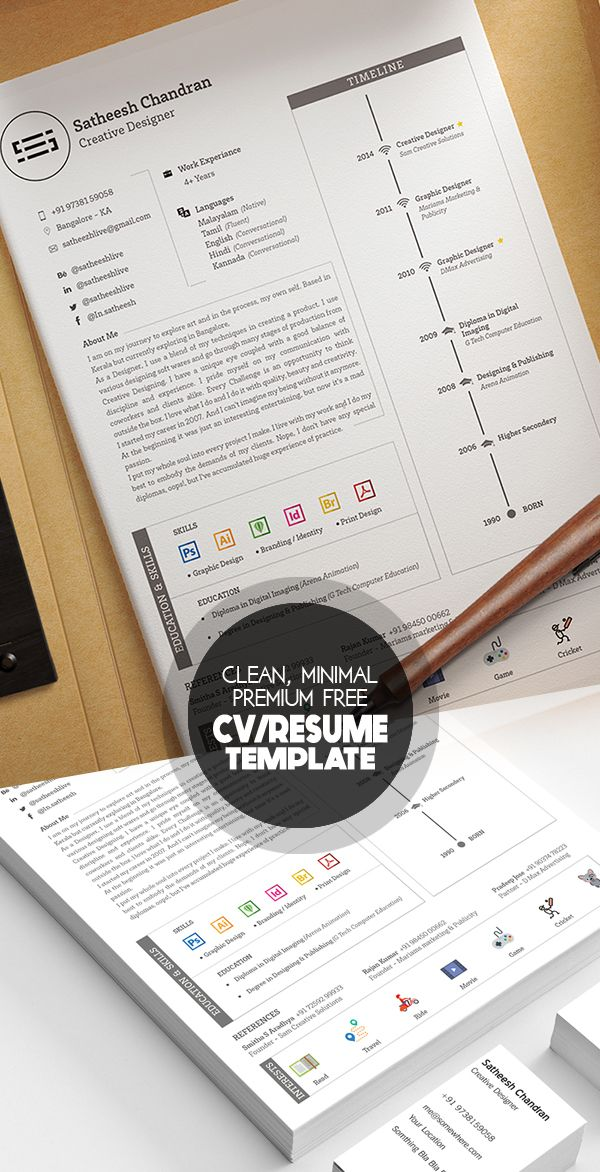 Free Clean Minimal And Elegant Premium Resume Template Cvresume