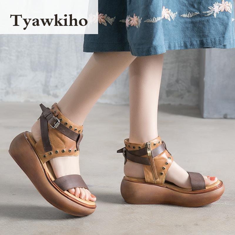 a3c92084df5c47 Trouver plus Femmes de Sandales Informations sur Tyawkiho Véritable En Cuir  Femmes Sandales Rétro D'