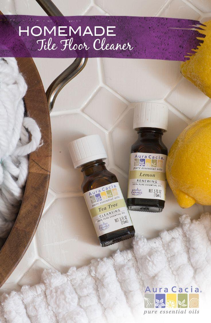 tile floor cleaner with lemon and tea tree essential oils recette diy home care bathroom. Black Bedroom Furniture Sets. Home Design Ideas