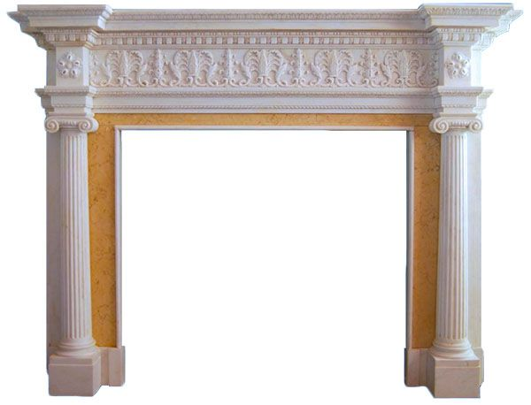 Ionic Albany Hand Carved Marble Fireplace Mantel | Fluted Columns ...