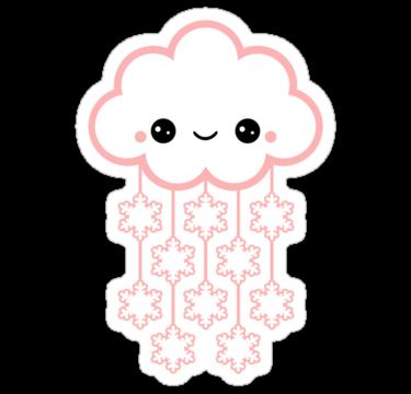 Cute Pink Snow By Sugarhai Kawaii Stickers Kawaii Doodles Cute Drawings