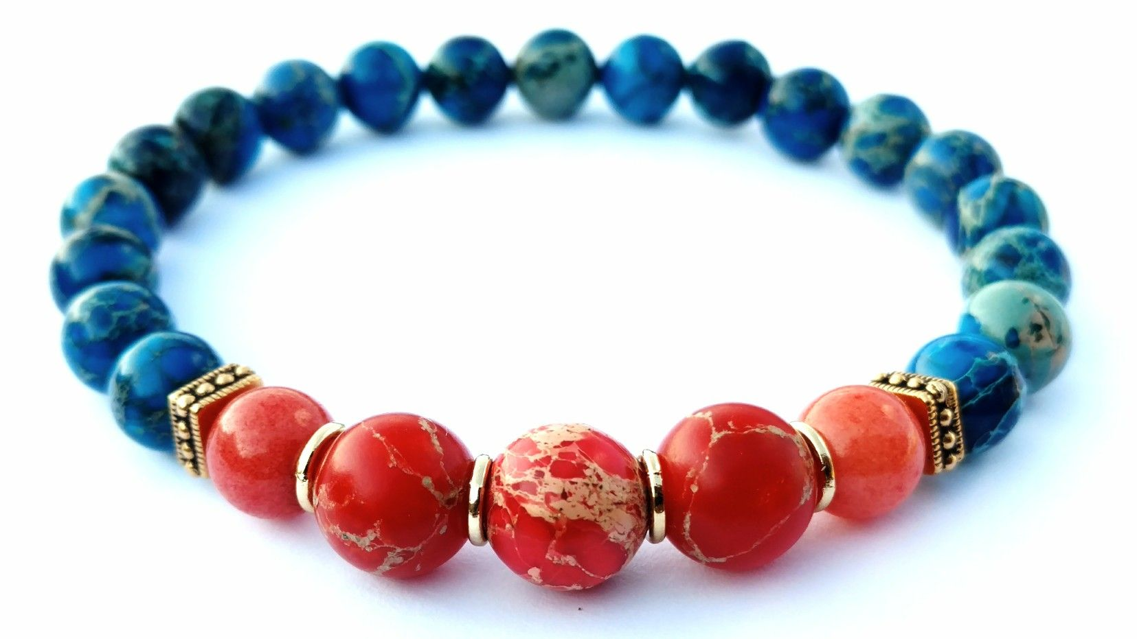 Custom ÉtABli Aqua Terra Jasper and Red Imperial Jasper stone Earth vs Mars mens beaded bracelet. #Dope