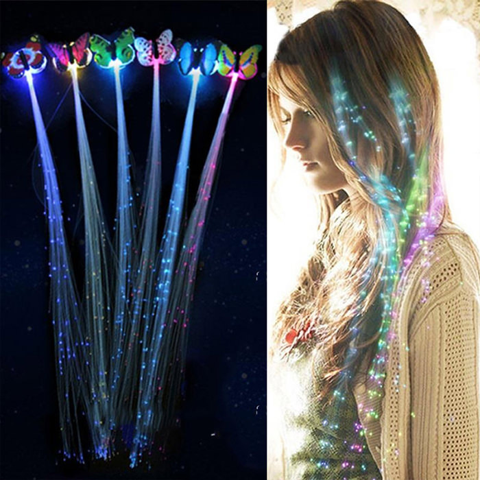 1//6X Halloween Birthday Party Gift Bags Fiber Optic Hair Multi Color LED Lights