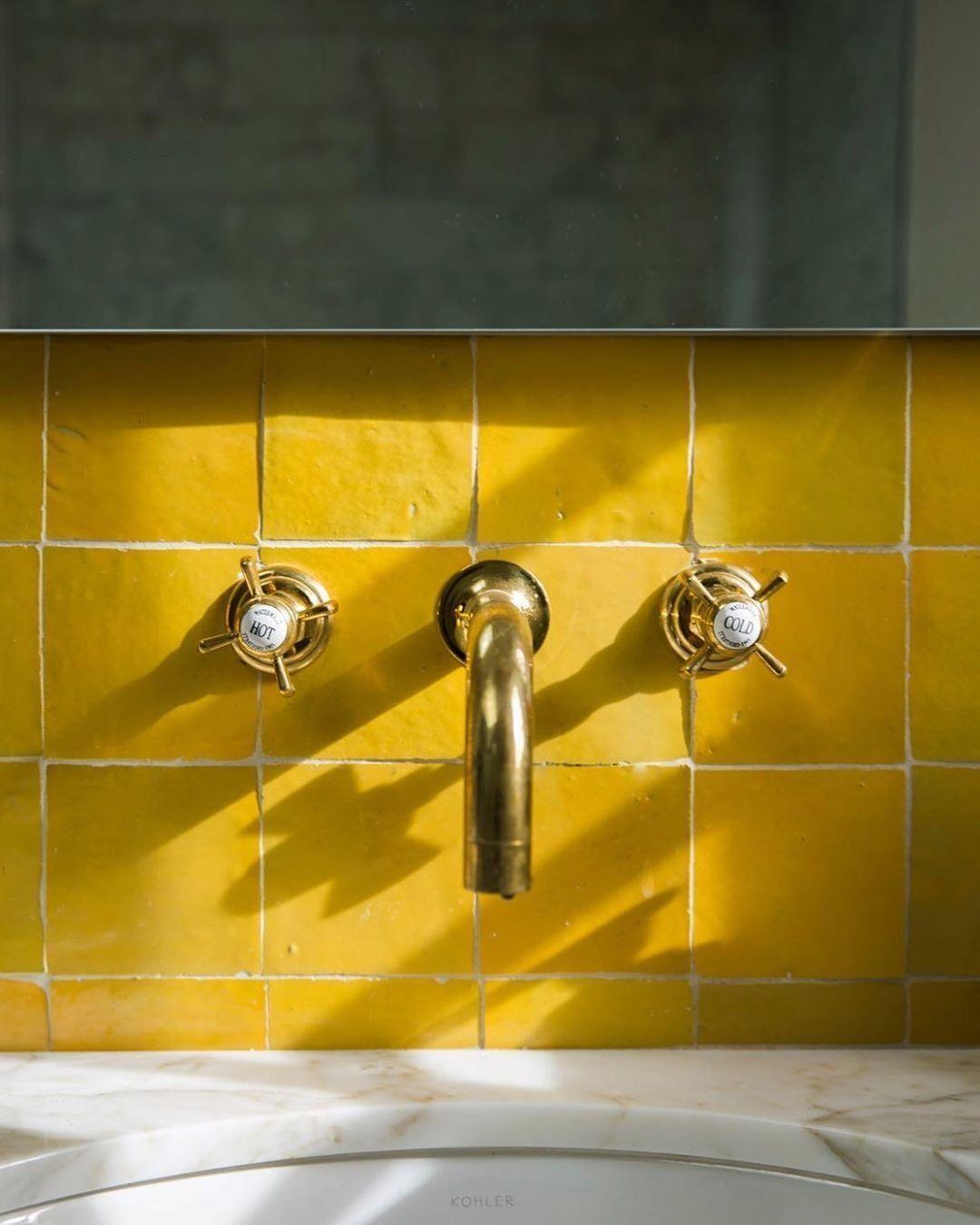 Indian Saffron Zellige 4 X4 X3 8 In 2020 Yellow Tile Yellow Bathroom Tiles Tile Backsplash Bathroom