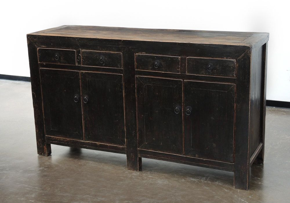 Vintage Black Sideboard Media Console Cabinet With Drawers And Storage By Terra  Nova Furniture Los Angeles