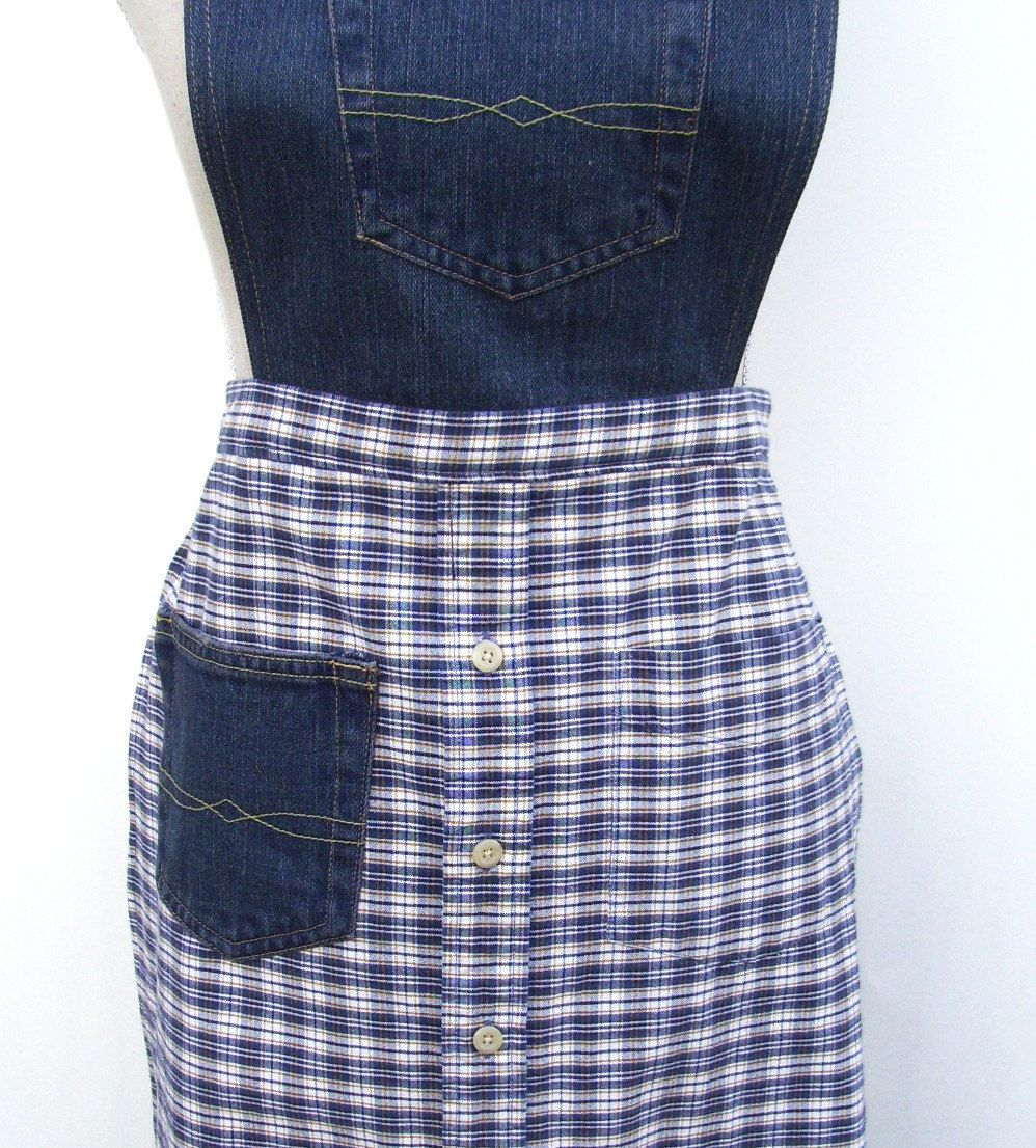 Flannel shirt apron  Combo of jeans on top and shirt on bottom Cute  Aprons