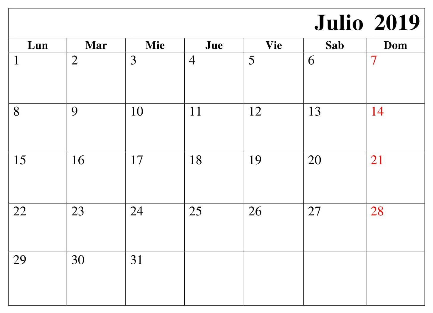 Mes De Julio Calendario.Julio Calendario Mes 2019 Para Imprimir Calendario Julio