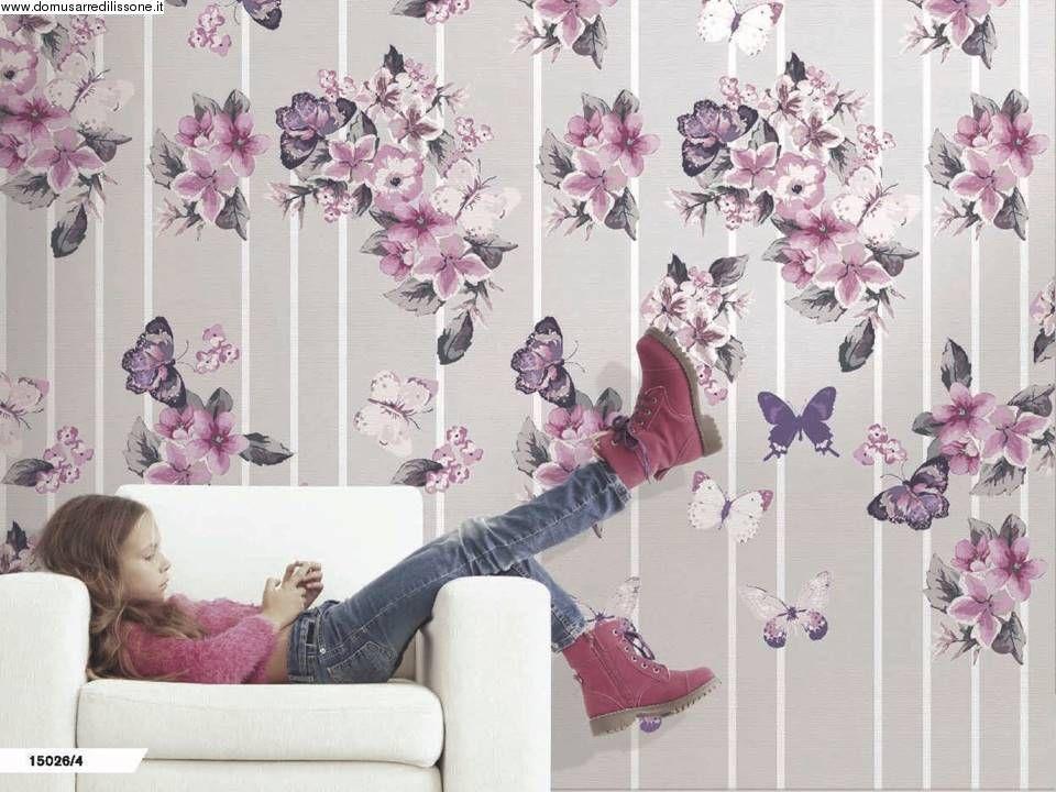 Carta Da Parati Fiori Rosa : Carta da parati per cameretta fiori lilla e farfalle tappezzerie d