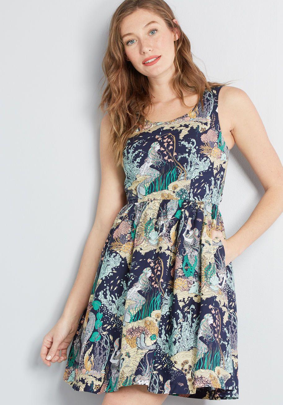 17116b9255 ModCloth ModCloth x Dupenny Optimistic Effect Sleeveless Dress Aqua