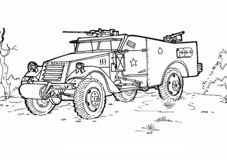 Military Vehicles War Armored Car Veterans Day Coloring Page