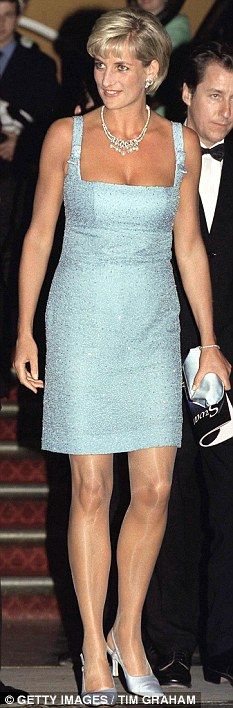 Princess Diana, 1997, shortly before she died - wearing a dazzling blue azagury dress to the English National Ballet at the Royal Albert Hall.