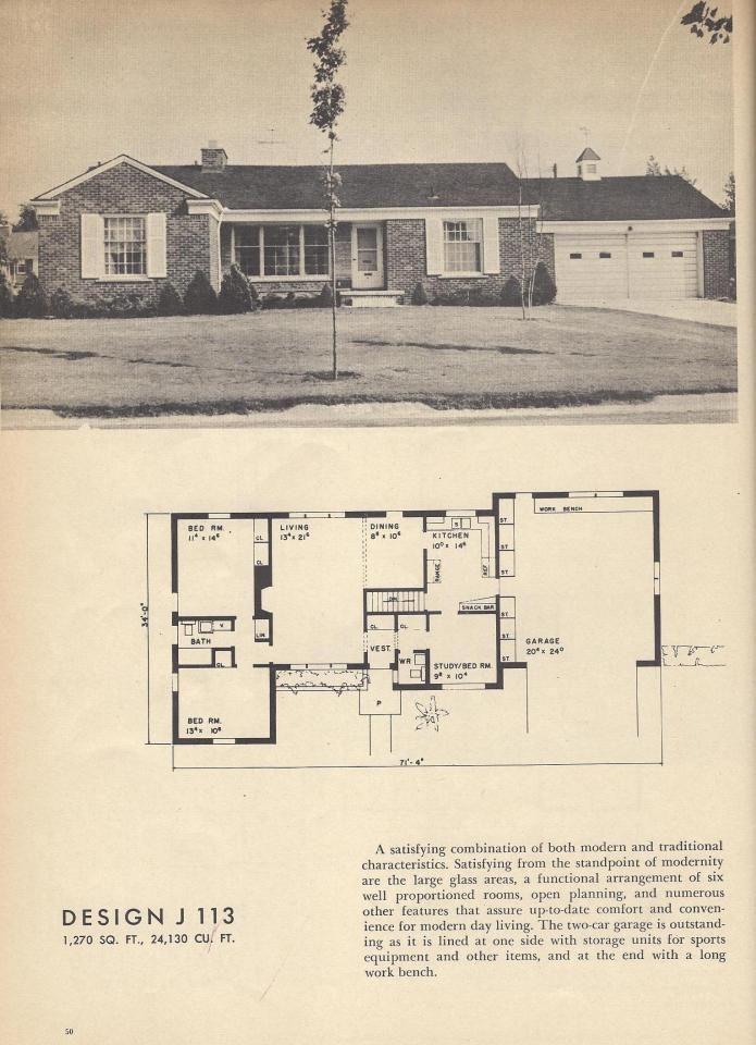 J113 Vintage House Plans Mid Century House Plans 1954 Homes Vintage House Plans Ranch House Plans Mid Century House