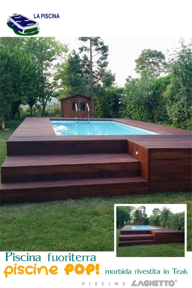 Piscina fuoriterra POP rivestita in Teak Piscine