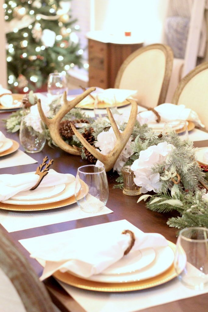 Holiday Tablescape Inspiration With Deer Antlers White Hydrangeas For Christmas Holiday Tablescapes Christmas Tablescapes Gold Holiday Tablescape