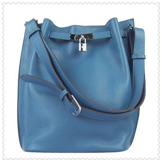 bde4e310f85 Hermes Bucket Bag Blue With Silver Hardware H2804