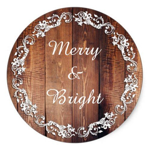 """Rustic """"Merry & Bright"""" Holiday Christmas Stickers"""