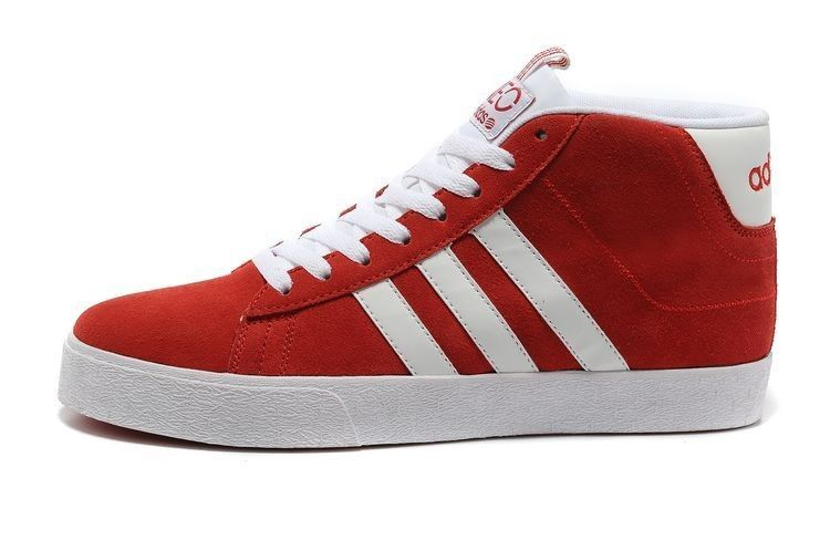 Adidas Neo Q38623 Suede High Tops Red White Sneakers Mens Womens shoes