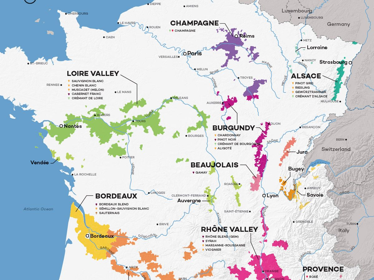Areas Of France Map.French Wine Exploration Map Old World Wine France French Wine