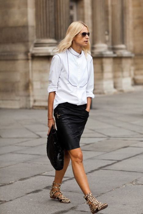Leather pencil skirt street style – Fashionable skirts 2017 photo blog