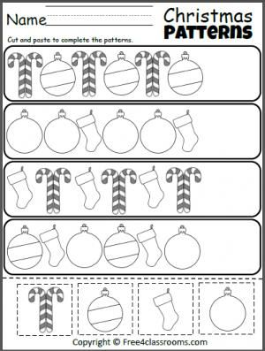 Free Christmas Cut Paste Patterns Worksheet.