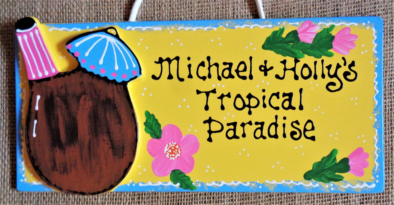 Personalized TROPICAL PARADISE Tiki Bar Name SIGN Patio ...