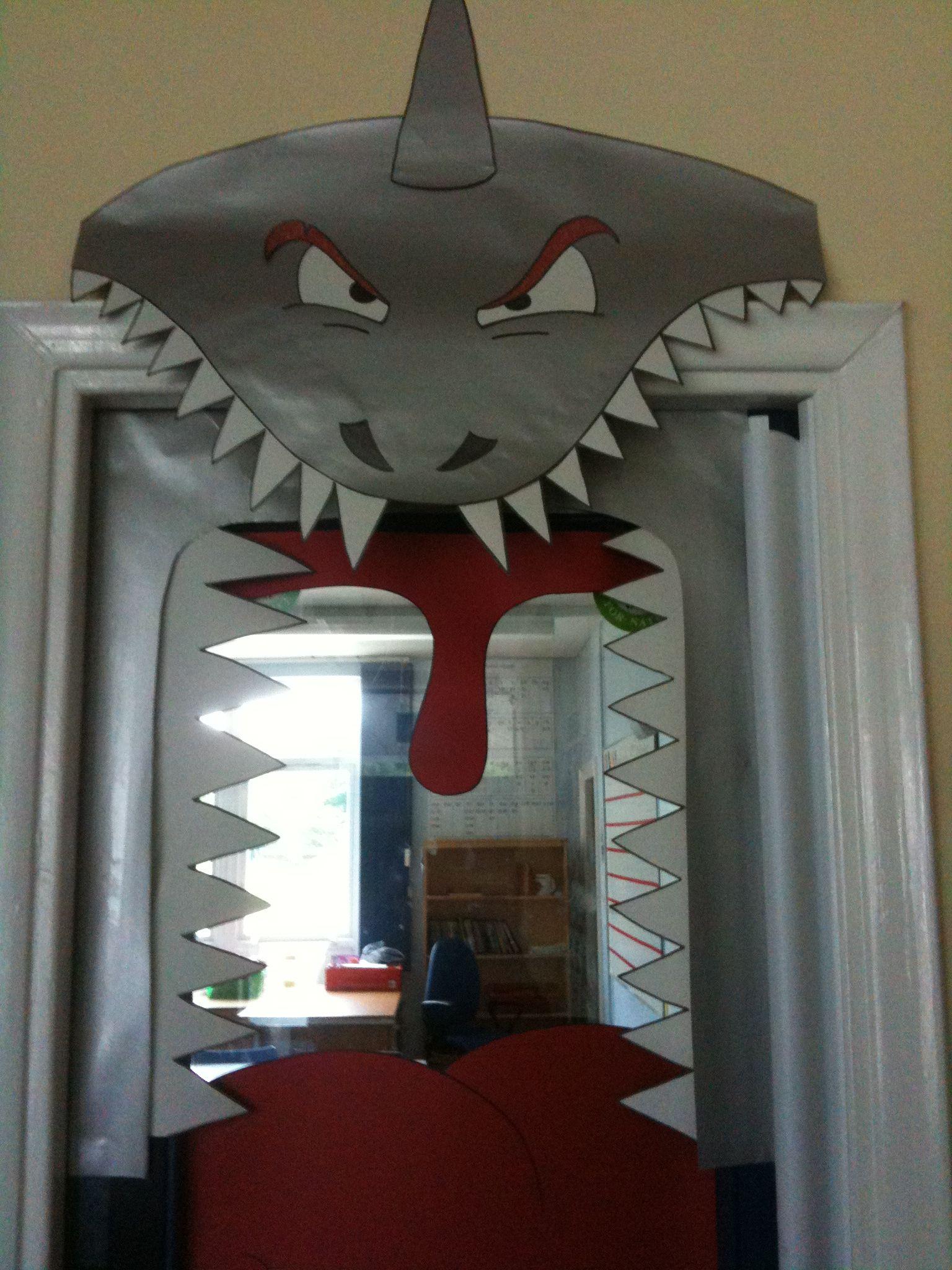 Under The Sea Classroom Decoration Ideas ~ School classroom door shark theme project kids birthday