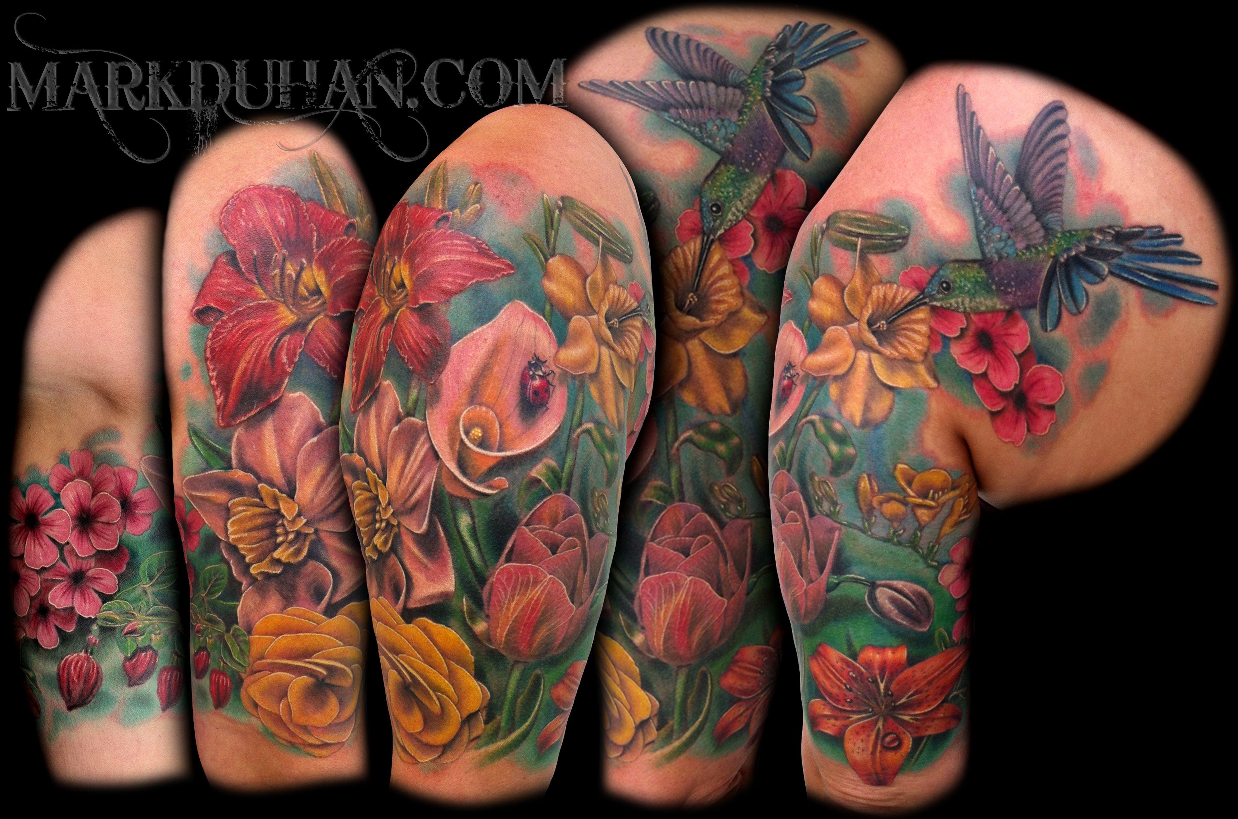 Flower half sleeve tattoos flower half sleeve by for Flower sleeve tattoo ideas