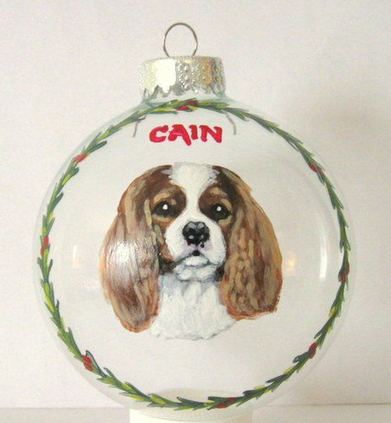 Cavalier King Charles Spaniel Handpainted Custom Dog Christmas Ornament Pet Loss Memorial Rememberance Portrait From Your Photo