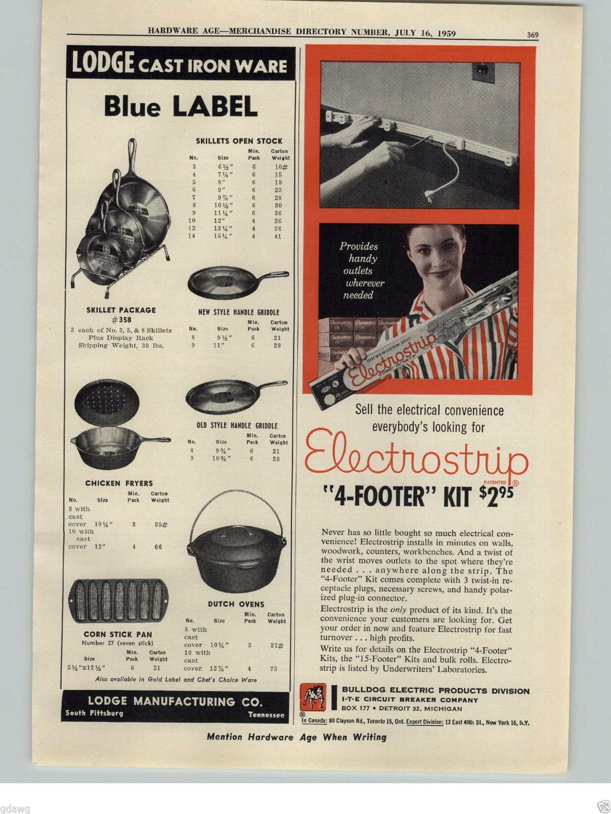 1959 PAPER AD Lodge Cast Iron Cook Ware Pans Store Display Rack Stand Corn Stick