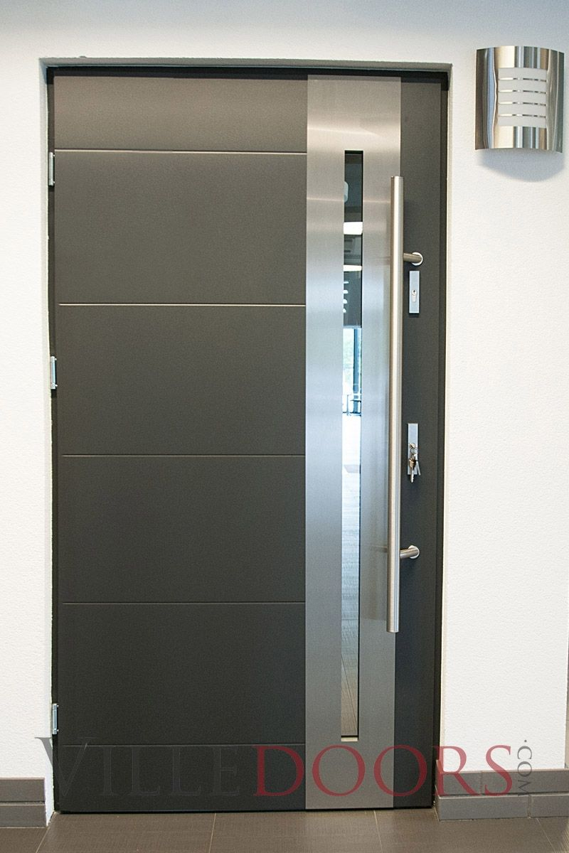Metal Entry Doors.  New Yorker Stainless Steel Modern Entry Door with Glass Front