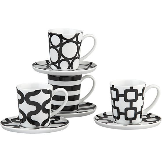 Set of 4 Graphic Espresso Cups and Saucers in Christmas Favorites | Crate and Barrel