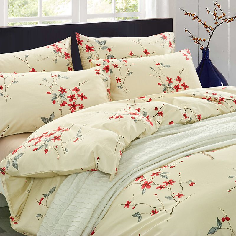 Rural style Contracted design 40s cotton reactive printed bedding