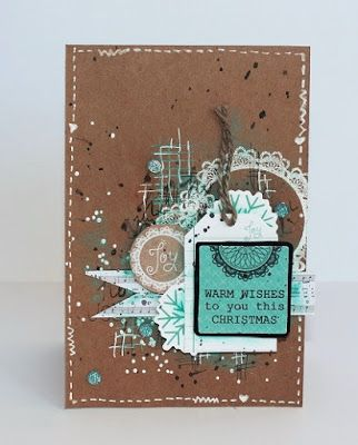Mixed media cards made with the Holly Jolly collection from Kaisercraft. Kraft cardstock, stamps and white embossing powder used to create the background. Made by Kirsten Hyde