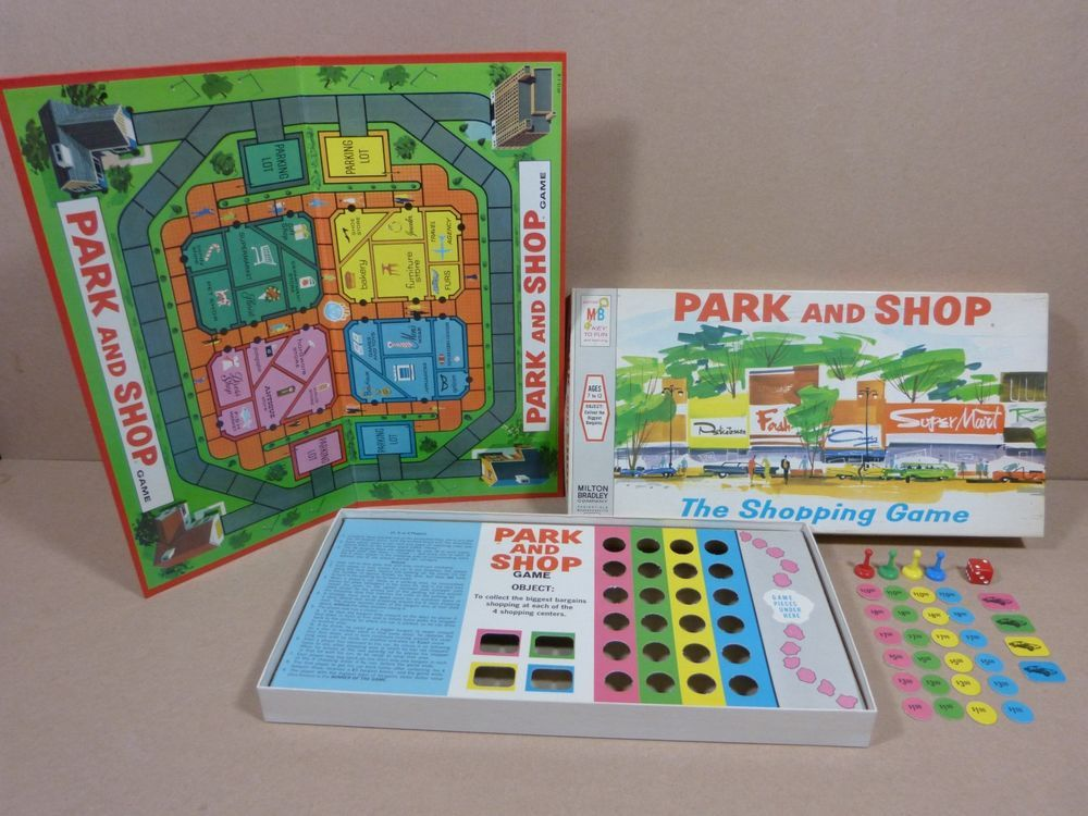 Vintage 1970 Park and Shop Board Game by Milton Bradley