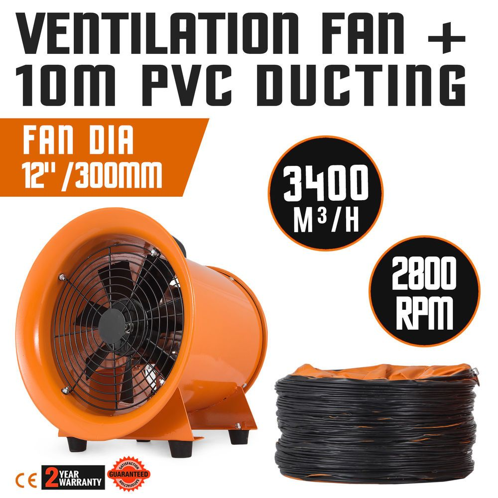 Portable Extractor Fan 12 Extractor Fan Blower Portable 10m Duct Hose High Rotation