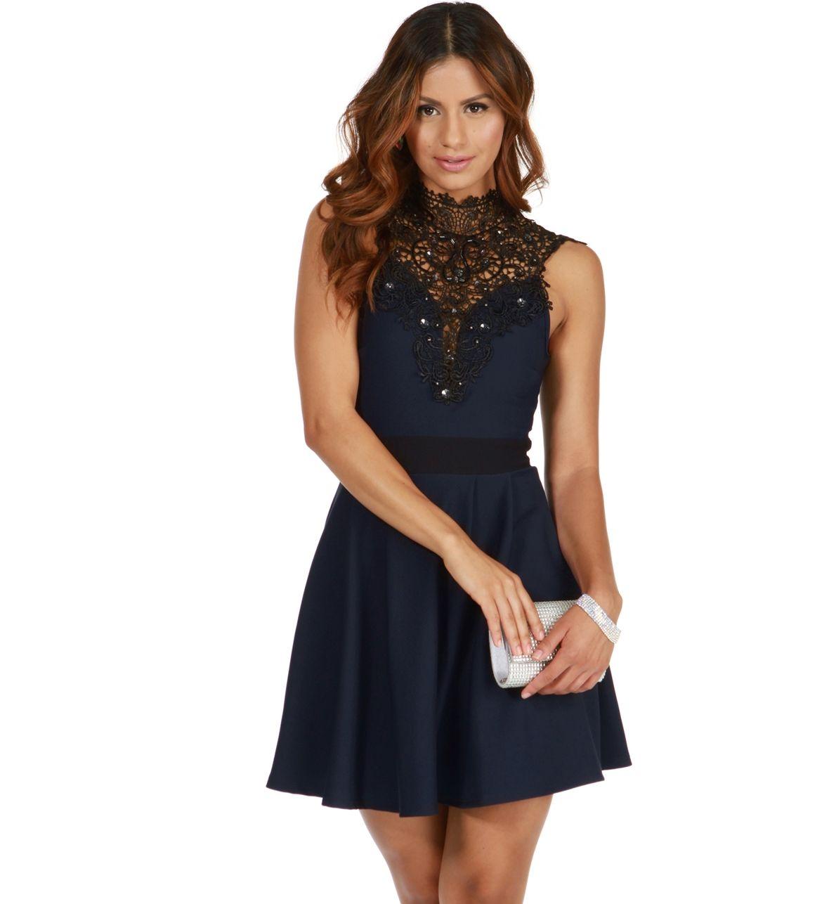 Navy Lovely Skater Dress Lace Skater Dress Skater Dress Dress Up [ 1286 x 1180 Pixel ]
