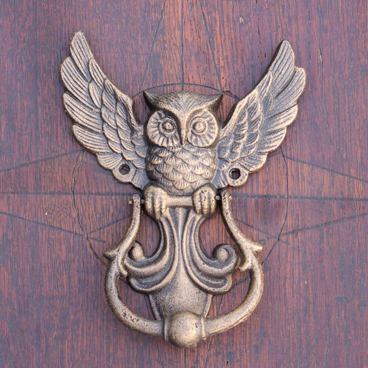 Hochwertiger Türklopfer Eule Klopfer Haustüren Gusseisen in Antikbronze lackiert