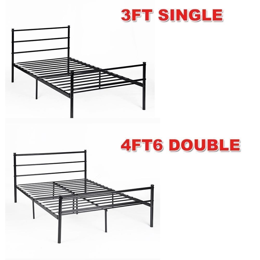 details about new metal bed frame 3ft 4ft6 bedstead sturdy for kids adult children design - Ebay Bed Frames