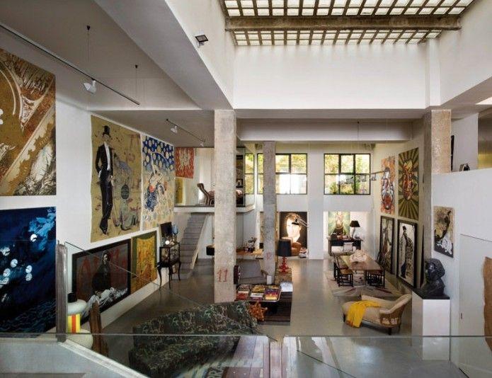 Another view of painter Enrique Garcia Lozano's polished concrete floor in his loft