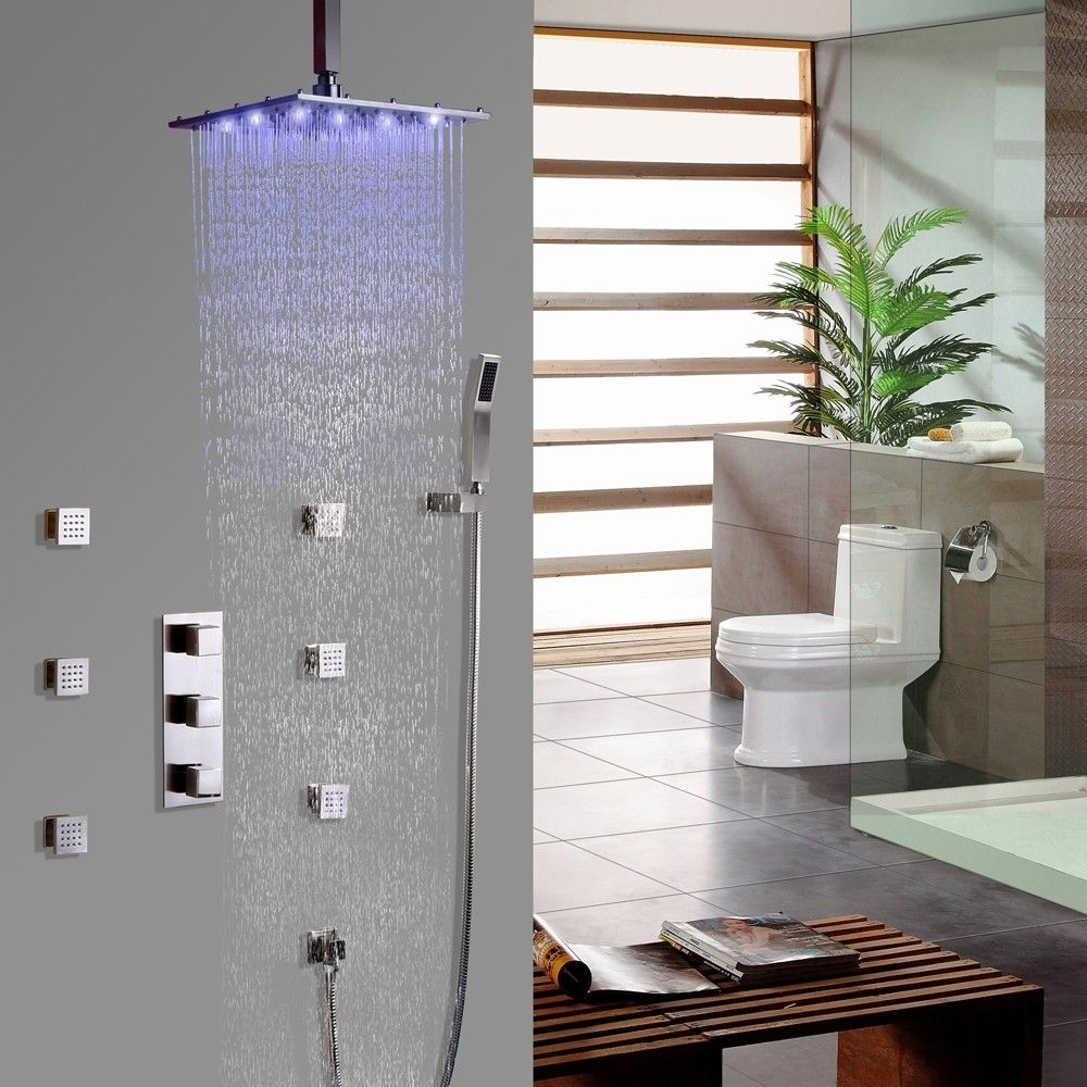 Contemporary Led Square Ceiling Mount Rain Shower System With 6
