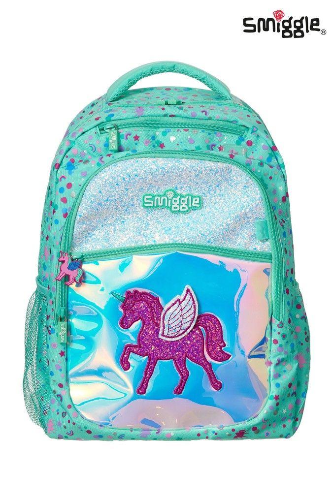 Girls Smiggle Believe Backpack With Unicorn Green Girls