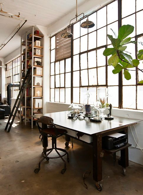 industrial style home office. loft style · open concept work space modern workspace design creative studio artist industrial home office