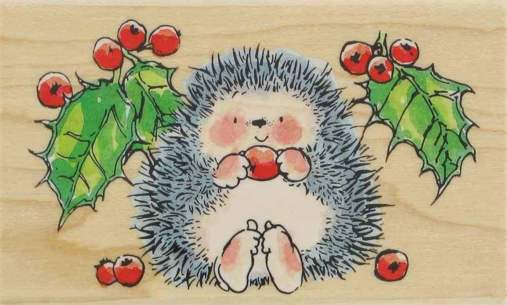 Hedgehog Christmas Holly Wood Mounted Rubber Stamp PENNY BLACK  4092K New
