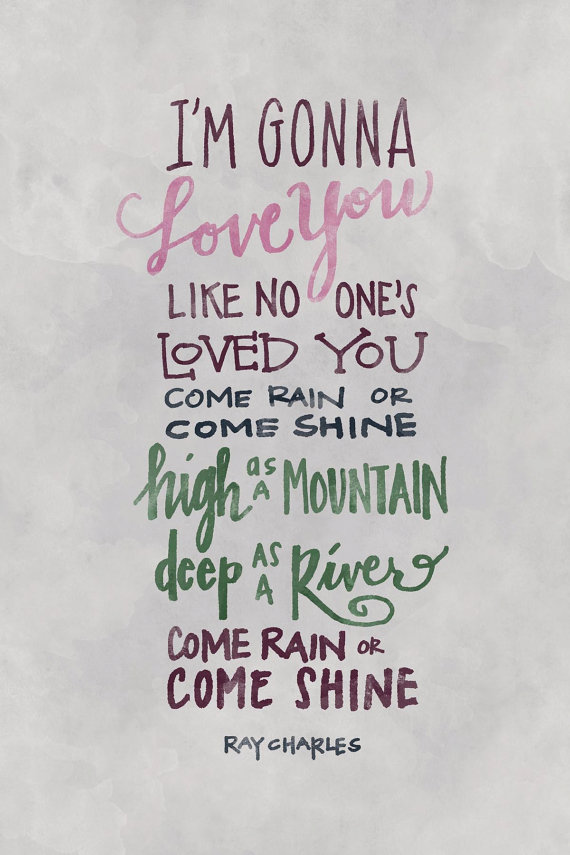 Lyric mc magic girl i love you lyrics : I'm Gonna Love You Ray Charles hand lettering digital art print ...