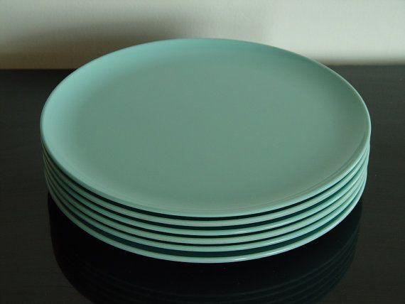 1950s Windsor Melmac plates & Vintage Windsor Melmac Robins Egg Blue 10 In Dinner Plates Set of ...