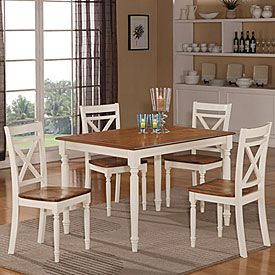 big lots dining chairs round outdoor chair cushions farmhouse 5 piece two tone set from ideas for the