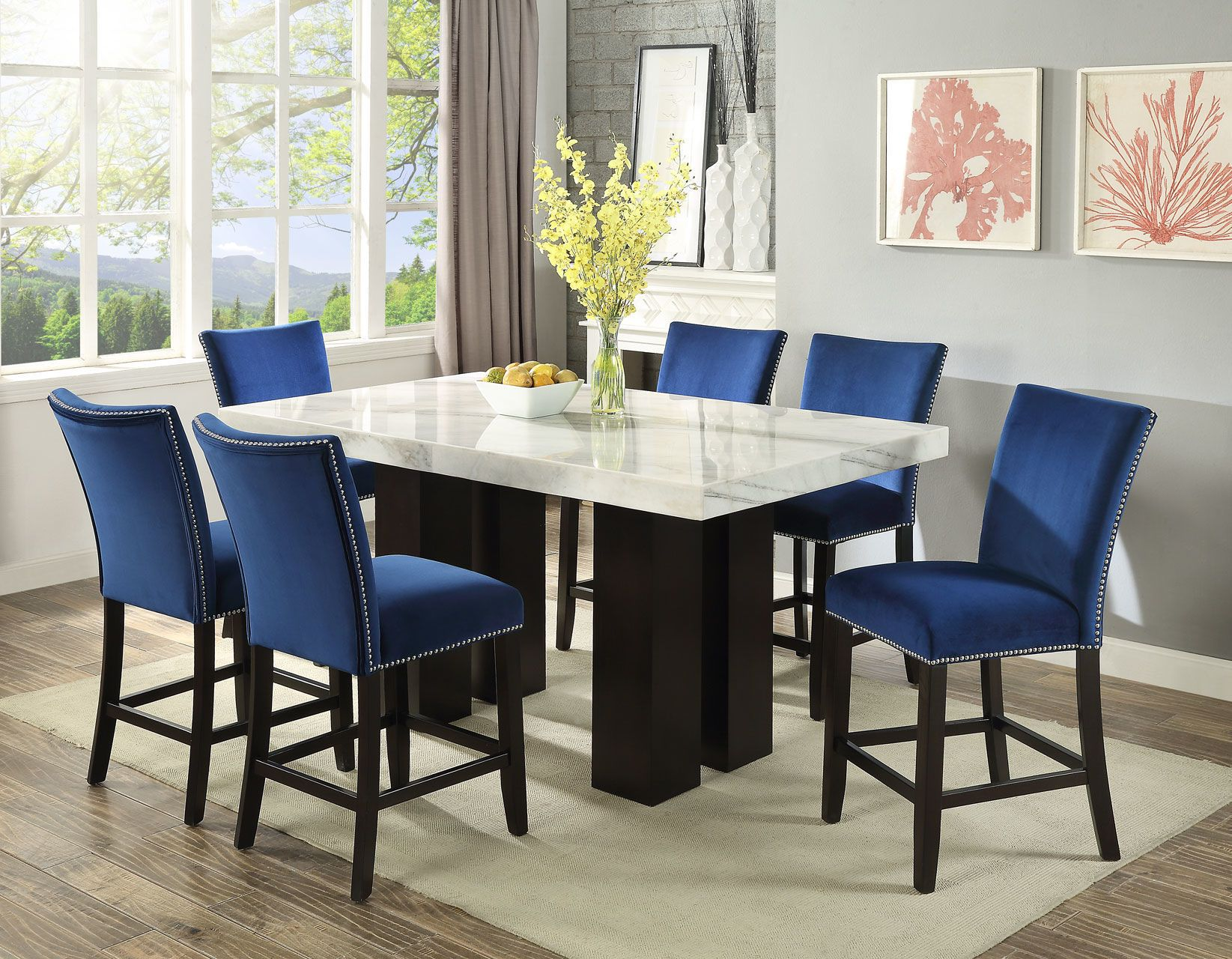Carmen Square 7pc Counter Height W Blue Stool Counter Height Dining Sets Dining Table Marble Marble Table