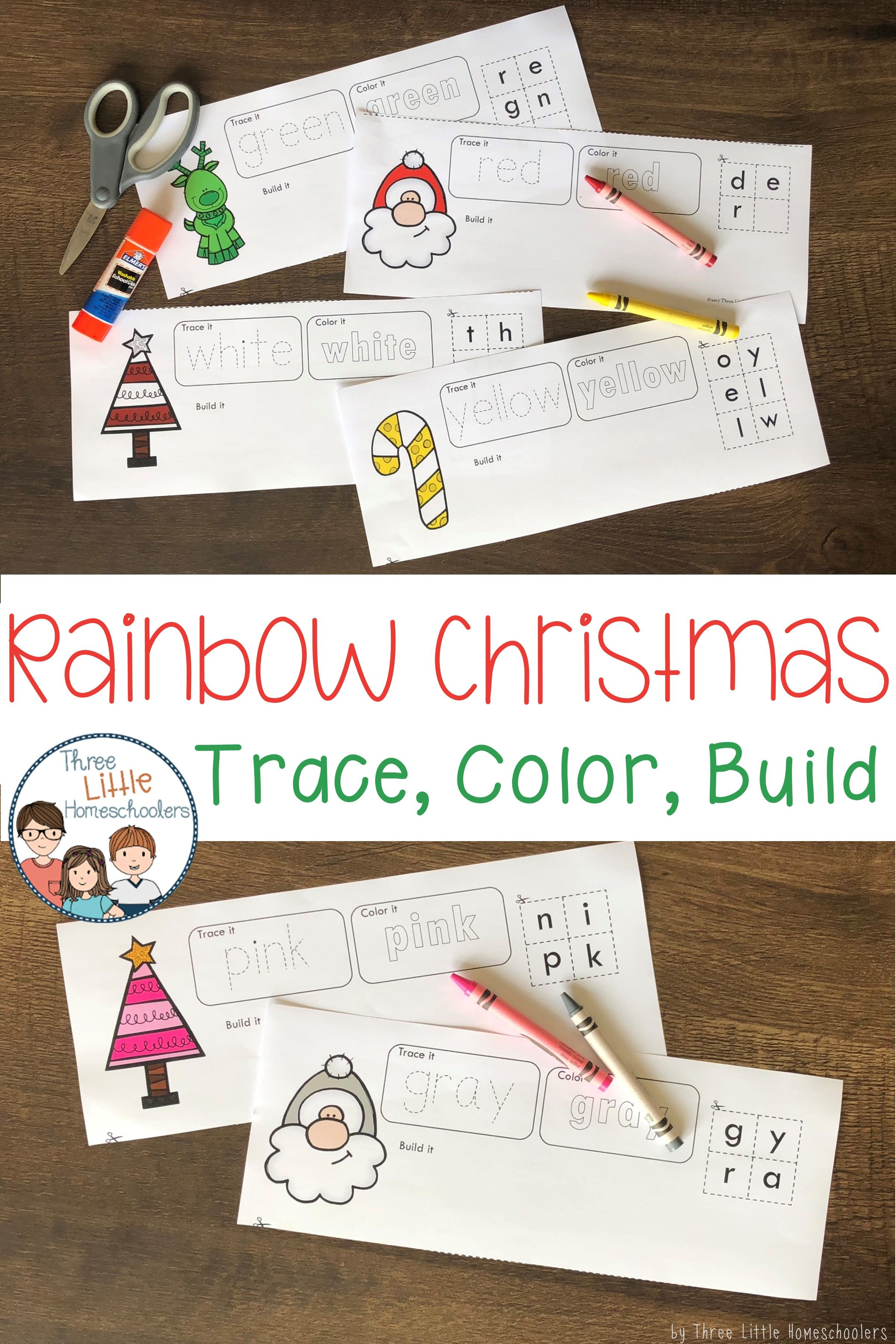 Rainbow Christmas Trace Color And Build Bundle