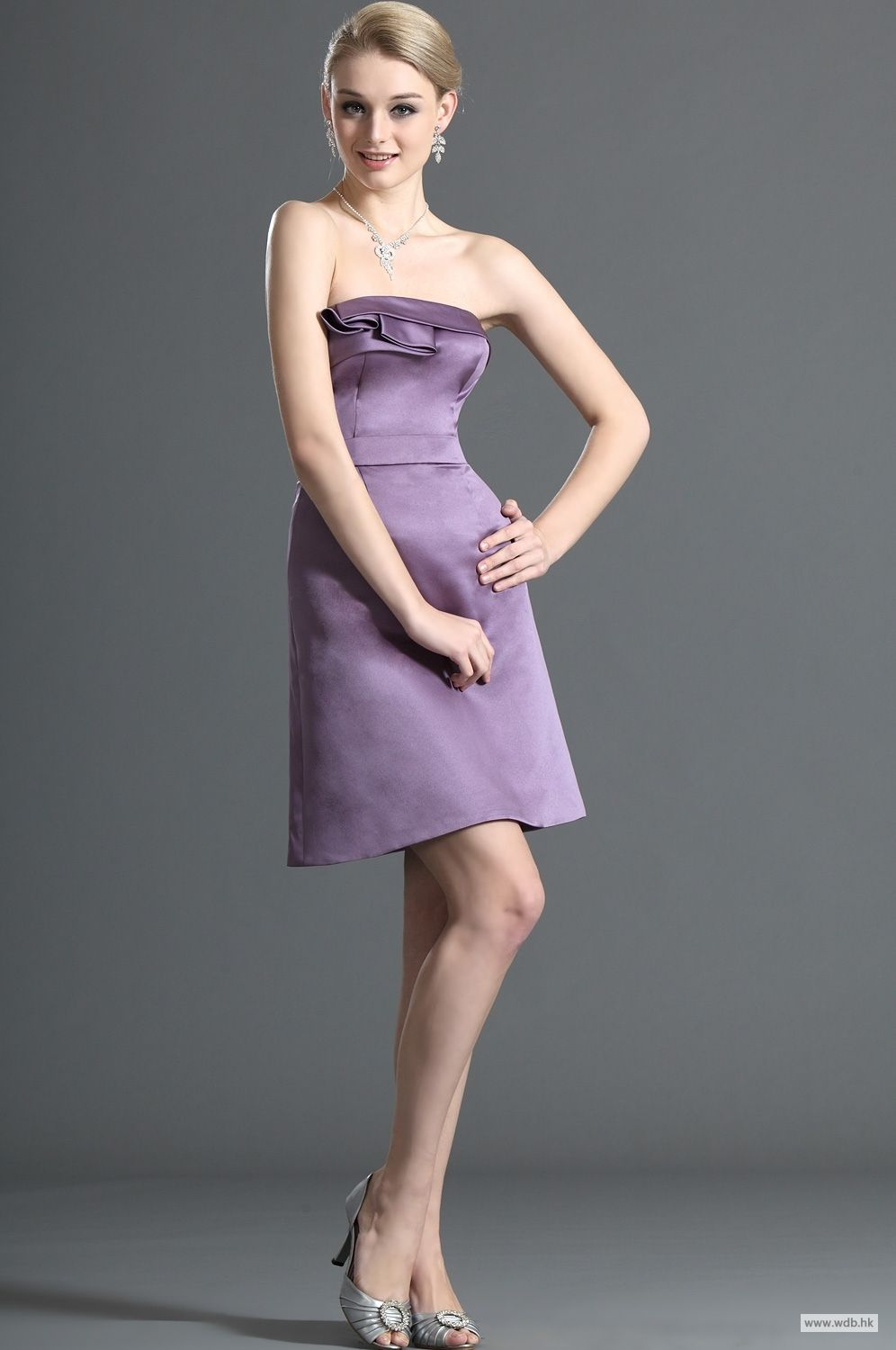 Wedding vows simple elegant strapless short satin bridesmaid dress wedding vows simple elegant strapless short satin bridesmaid dress 978 ombrellifo Image collections