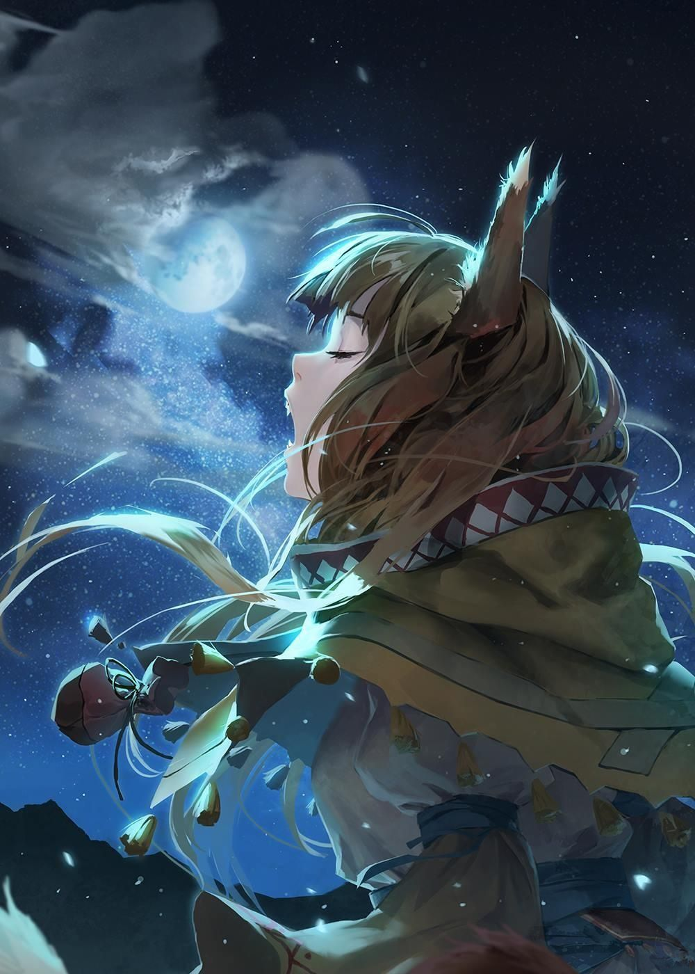 Holo Howling At The Moon Spice And Wolf Holo Anime Wolf Girl Spice And Wolf